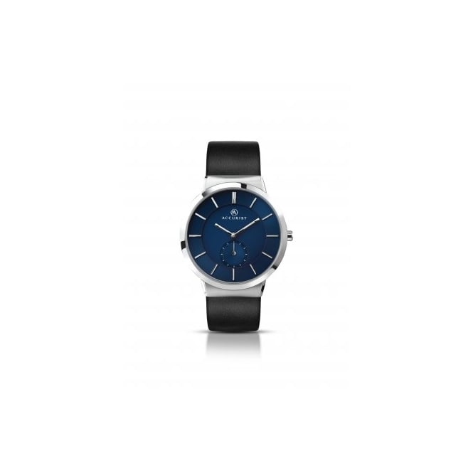 Accurist Mens Round Blue Dial and Steel Bezel with a Black Strap