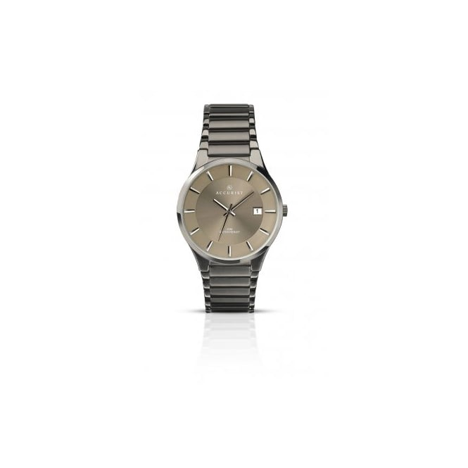 Accurist Mens Round Charcoal Dial with a Grey Bracelet