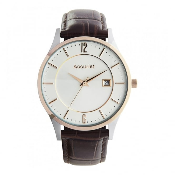Accurist Mens Round Cream Dial and Rose Bezel with a Brown Strap