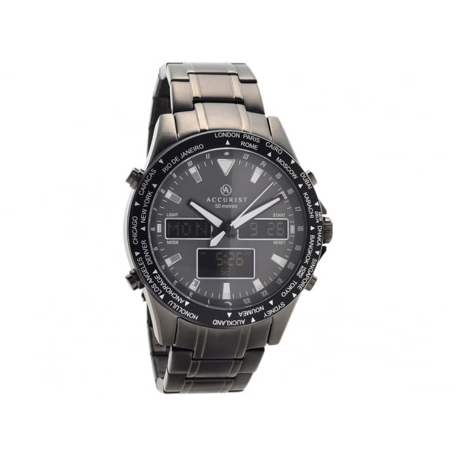 Accurist Mens Round Digital/Analogue Round Grey World Timer with a Black Bracelet