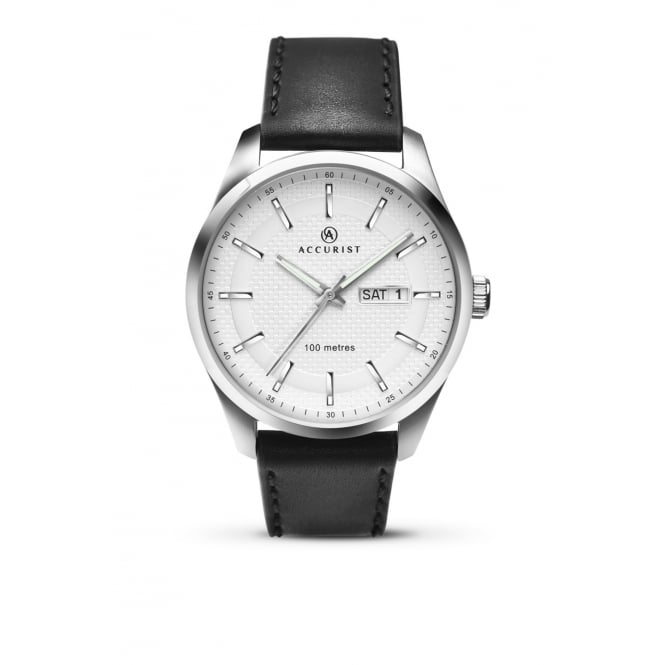 Accurist Mens Round White Dial with a Black Strap