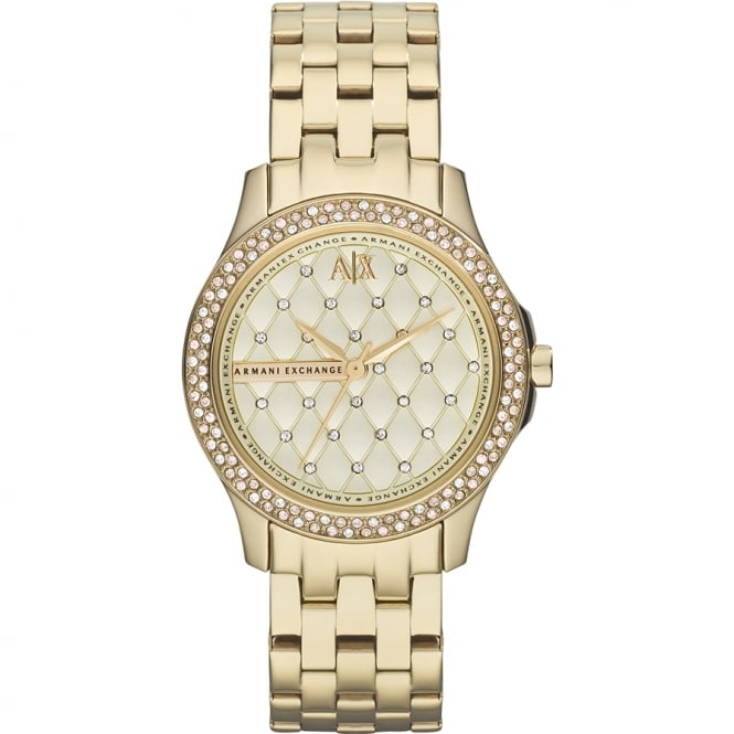 Armani Exchange Ladies 'Lady Hampton' Round Champagne Dial Stone with a Gold Plated Bracelet