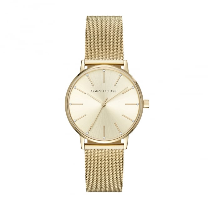 Armani Exchange Ladies Lola Champagne Dial with a Gold Plated Mesh Bracelet