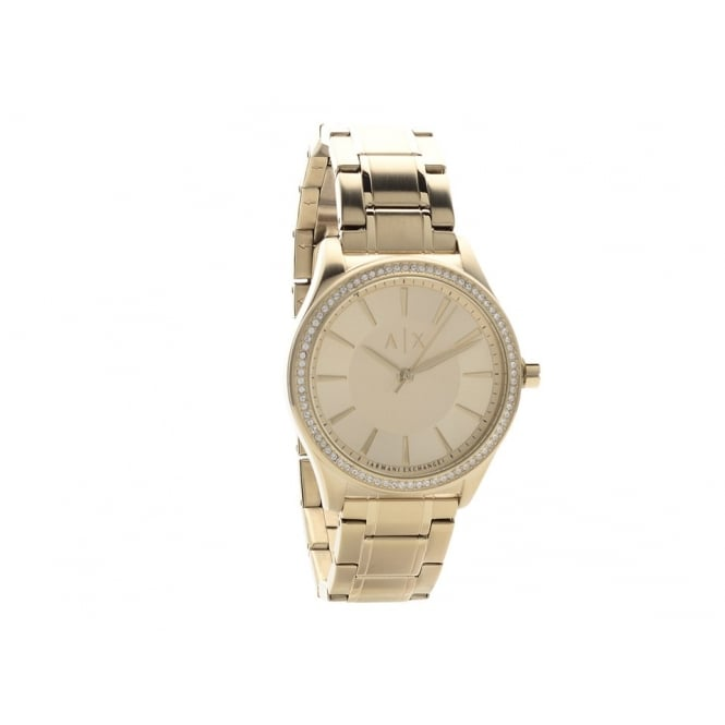 Armani Exchange Ladies Nicolette Round Gold Plated Dial with a Stone Bezel and Gold Plated Bracelet