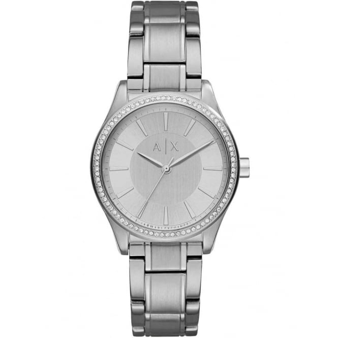 Armani Exchange Ladies Nicolette Round Silver Dial Stone with a Stainless Steel Bracelet