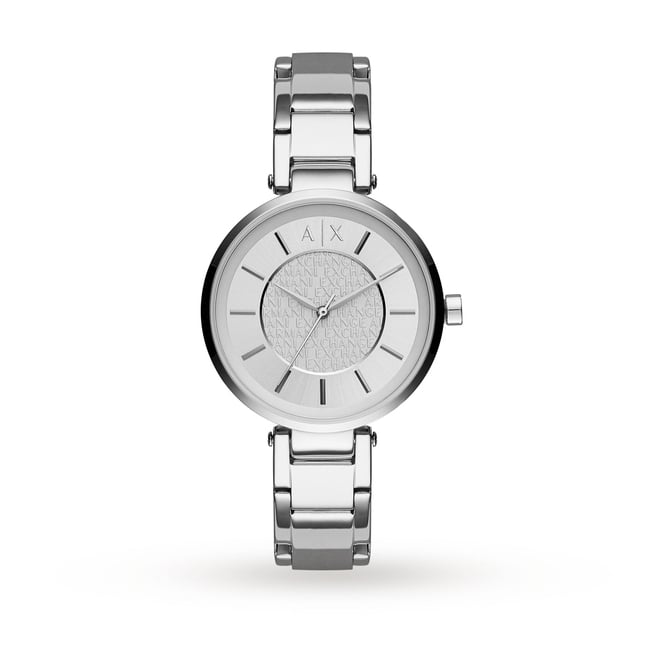 Armani Exchange Ladies Olivia Round Silver Dial with a Stainless Steel Bracelet