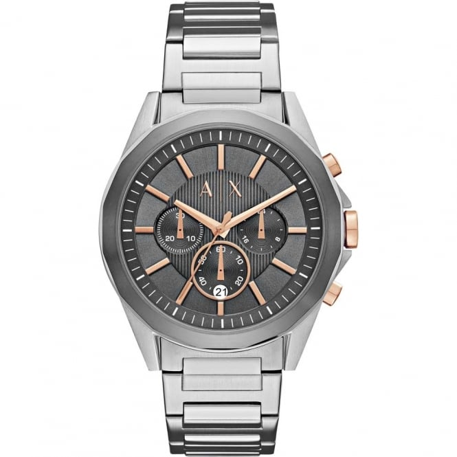 Armani Exchange Mens Drexler Round Grey and Rose Chronograph with a Stainless Steel Bracelet