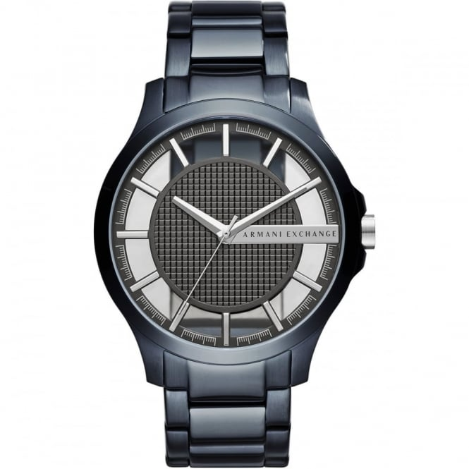 Armani Exchange Mens Hampton Round Black and Silver Dial with a Blue Bracelet