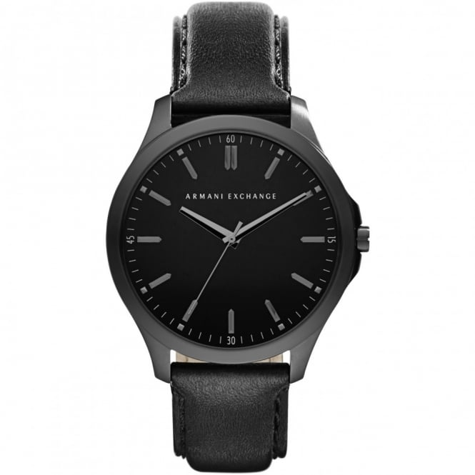 Armani Exchange Mens Hampton Round Black Dial with a Black Leather Strap