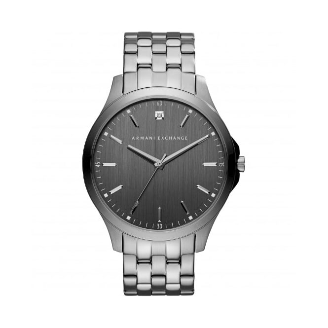 Armani Exchange Mens Hampton Round Grey Dial with a Stainless Steel Strap