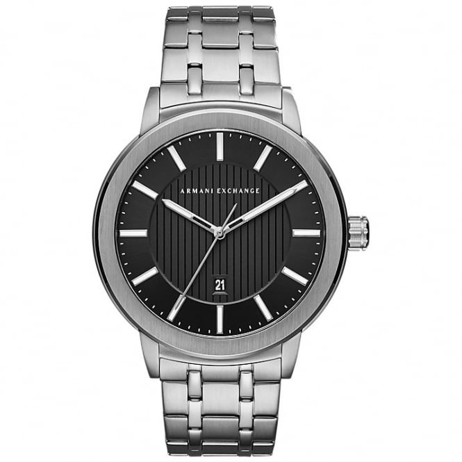 Armani Exchange Mens Maddox Round Black Dial with a Stainless Steel Bracelet