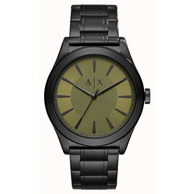 Armani Exchange Mens Nico Round Green Dial with a Black Bracelet