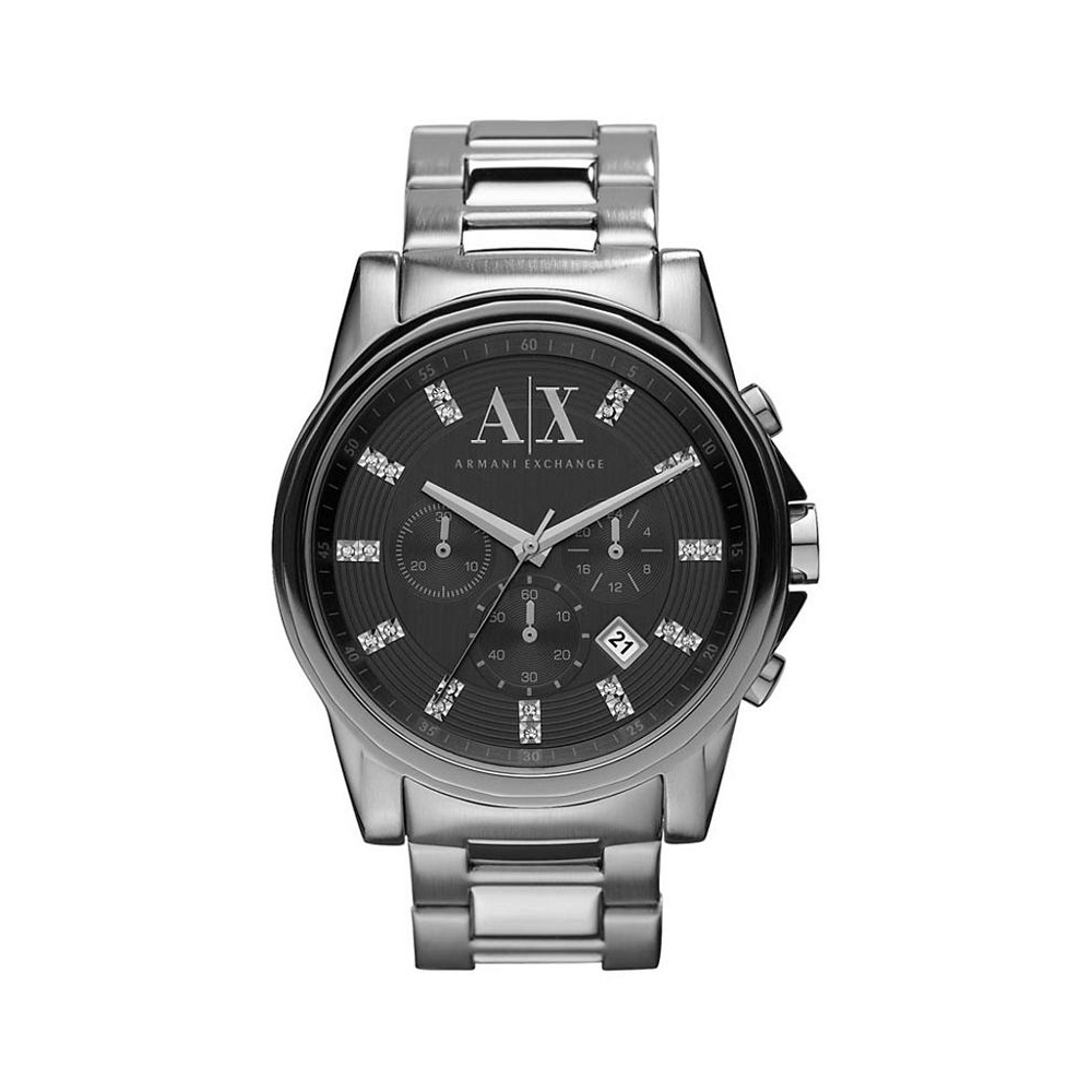 1fae41d80fc Armani Exchange Mens Outerbanks Round Black Dial with a Steel Bracelet
