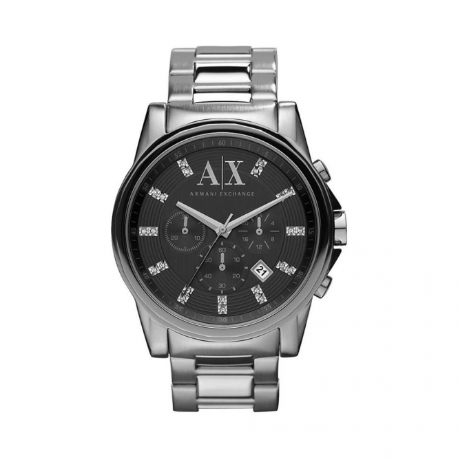 Armani Exchange Mens Outerbanks Round Black Dial with a Stainless Steel Bracelet