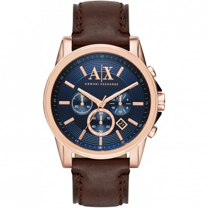 Armani Exchange Mens Outerbanks Round Blue Dial with a Brown Strap
