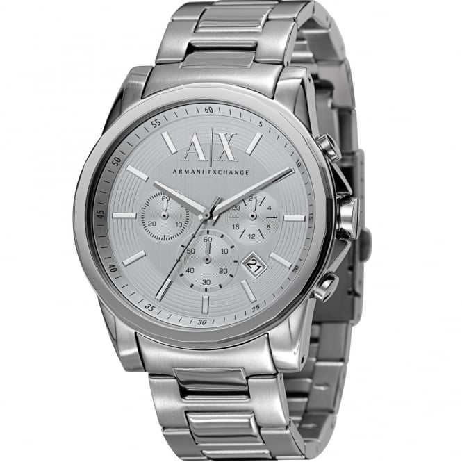Armani Exchange Mens Outerbanks Round Silver Dial with a Stainless Steel Bracelet