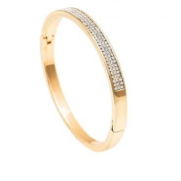 Gold Plated 3 Row Cubic Zirconia Bangle