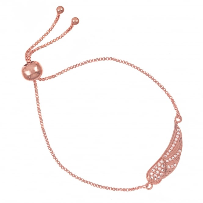 Belle & Beau Rose Gold Finish Crystal Angel Wing Bracelet