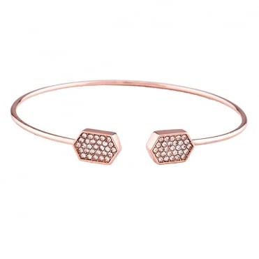 Rose Gold Finish Hexagon Pave Torque Bangle