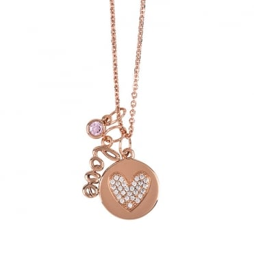 Rose Gold Finish 'Love' Charm Necklace