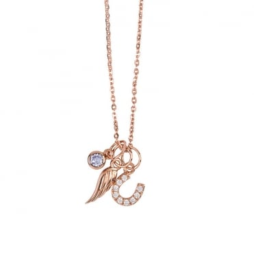 Rose Gold Finish 'Luck and Guidance' Charm Necklace
