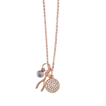 Rose Gold Finish 'Make A Wish' Charm Necklace