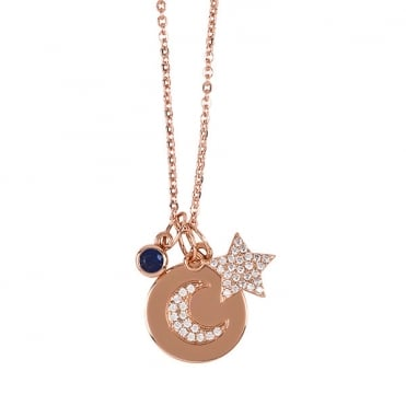 Rose Gold Finish 'Night Sky' Charm Necklace