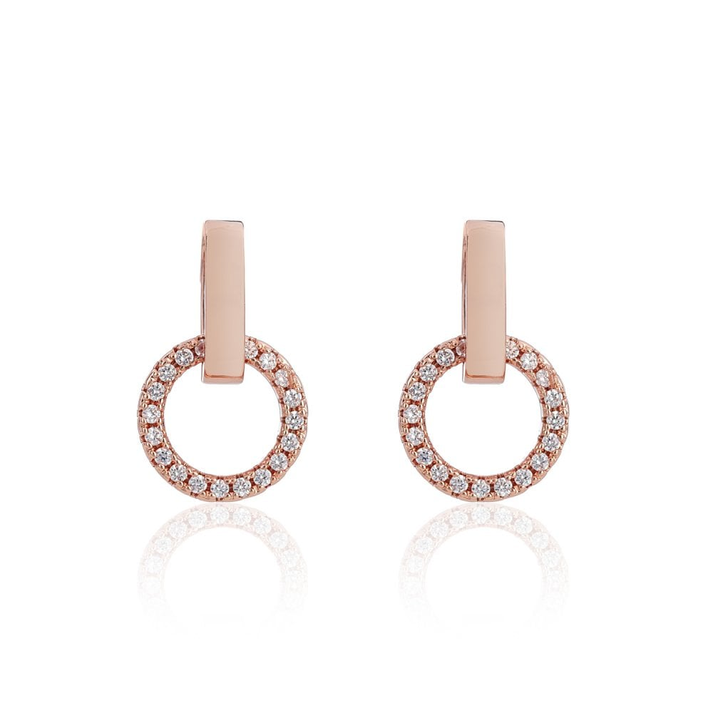 Belle Beau Rose Gold Plated Circle Crystal Drop Earrings Jewellery From Eternity The Jewellery Store Uk