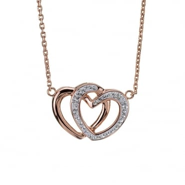 Rose Gold Plated Stainless Steel Crystal Double Heart Pendant and Chain