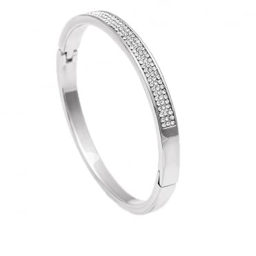 Silver Finish 3 Row Cubic Zirconia Bangle