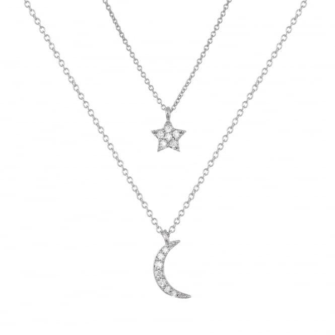 Belle & Beau Silver Finish Crystal Moon/Star Necklace
