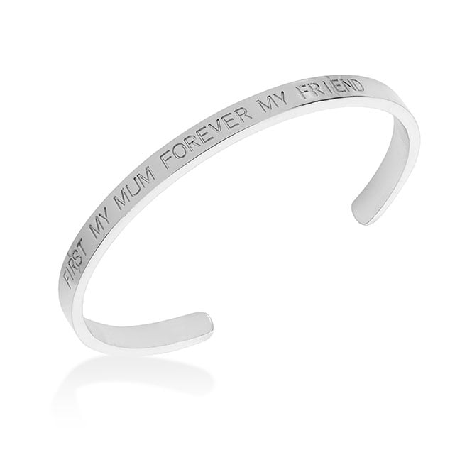 Belle & Beau Silver Finish 'First My Mum Forever my Friend' Torque Bangle