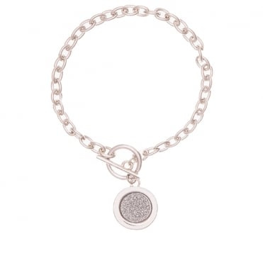 Silver Finish Moondust Circle & T-Bar Bracelet