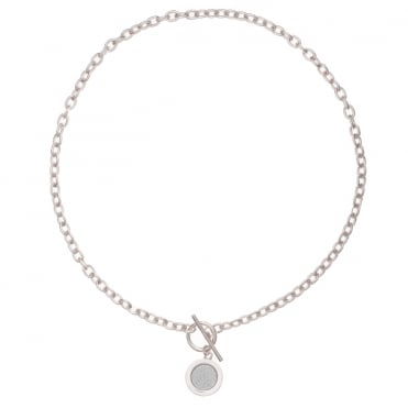 Silver Finish Moondust Circle & T-Bar Necklace