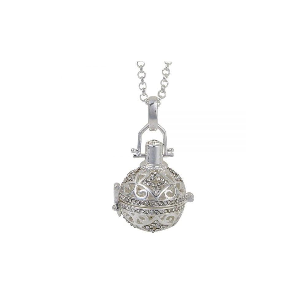 Belle beau silver finish round crystal set swirl cage pendant and silver finish round crystal set swirl cage pendant and 30quot32quot mozeypictures Gallery