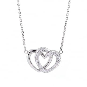 White Gold Plated Stainless Steel Crystal Double Heart Pendant and Chain