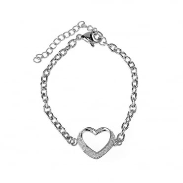 White Gold Plated Stainless Steel Crystal Open Heart Bracelet