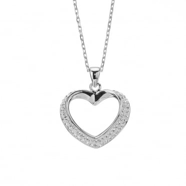 White Gold Plated Stainless Steel Crystal Open Heart Pendant and Chain
