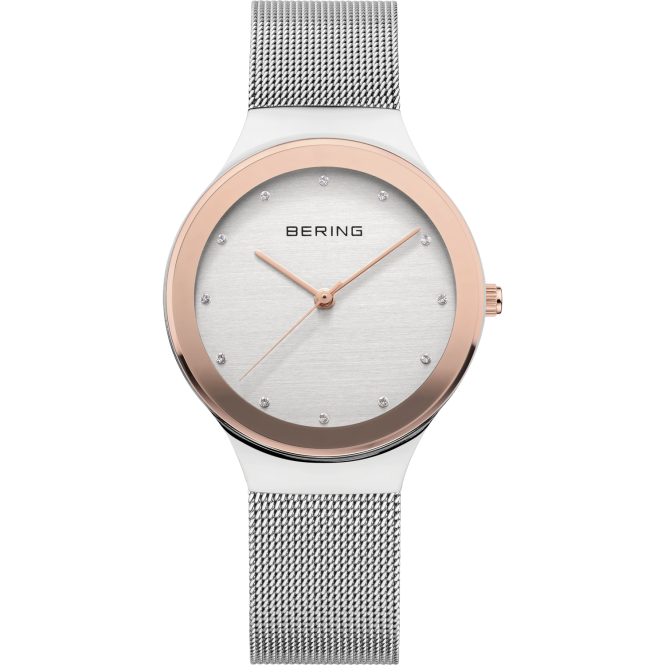 Bering Ladies Classic Round Silver Dial with Rose Bezel and Stainless Steel Mesh Bracelet