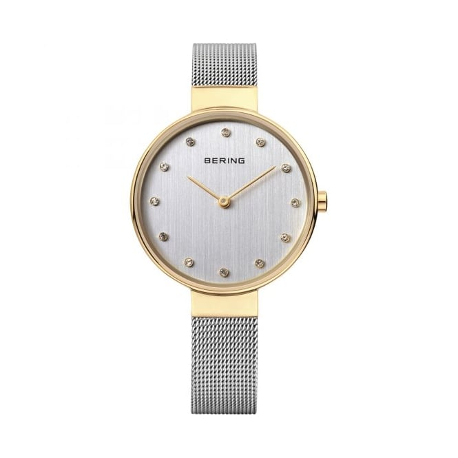 Bering Ladies Round 2 Colour Dial and Gold Plated Bezel with a Thin Silver Mesh Bracelet