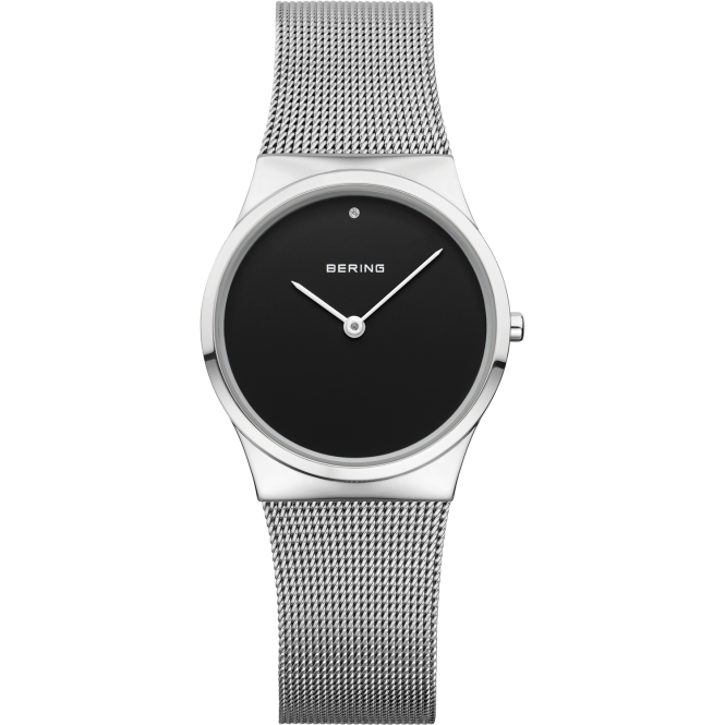 Bering Ladies Round Black Dial and Silver Bezel with a Silver Mesh Bracelet