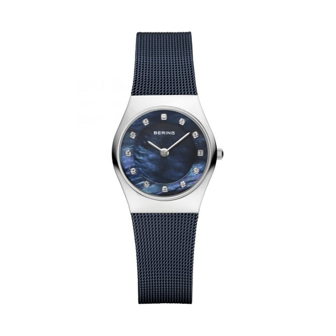 Bering Ladies Round Blue Dial and Steel Bezel with a Blue Milanese Bracelet