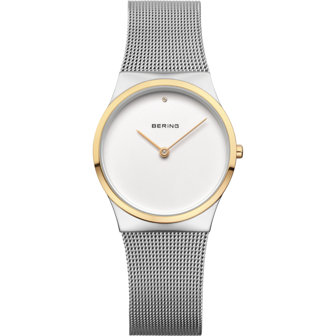 Bering Ladies Round Silver Dial and Gold Plated Bezel with a Silver Mesh Bracelet