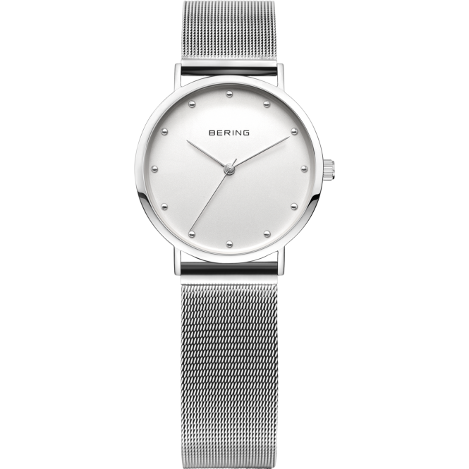 Bering Ladies Round Silver Dial with a Silver Mesh Bracelet