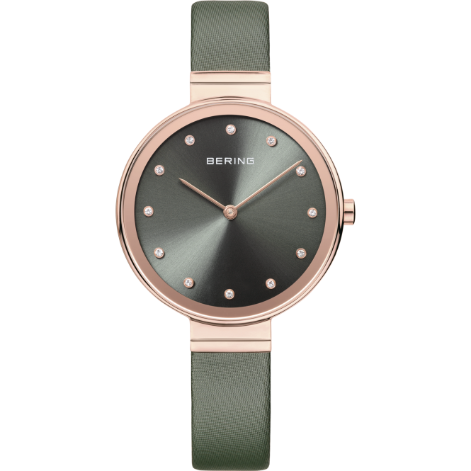 Bering Ladies Round Stone Set Dial and Rose Bezel with a Green Strap