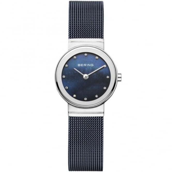 Bering Ladies Small Round Blue Dial and Steel Bezel with a Milanese Bracelet