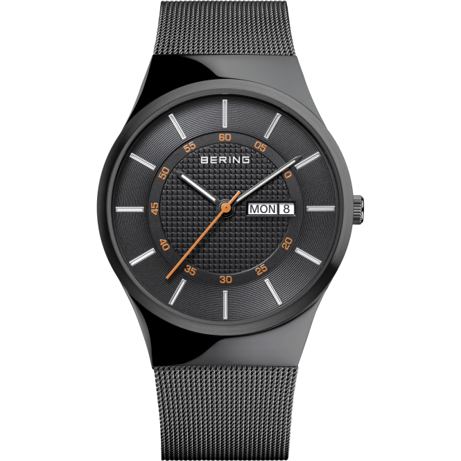 Bering Mens Round Black Day/Date Dial with a Black Mesh Bracelet