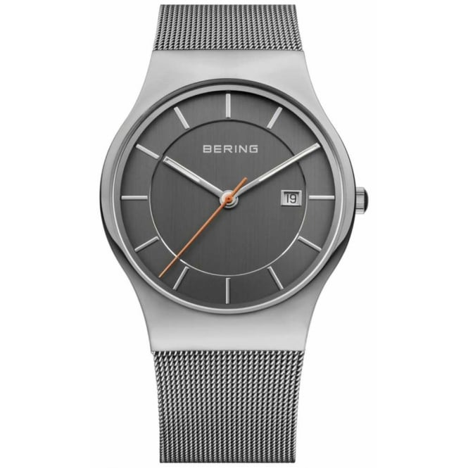 Bering Mens Round Black Dial and Stainless Steek Bezel with a Stainless Steel Mesh Bracelet