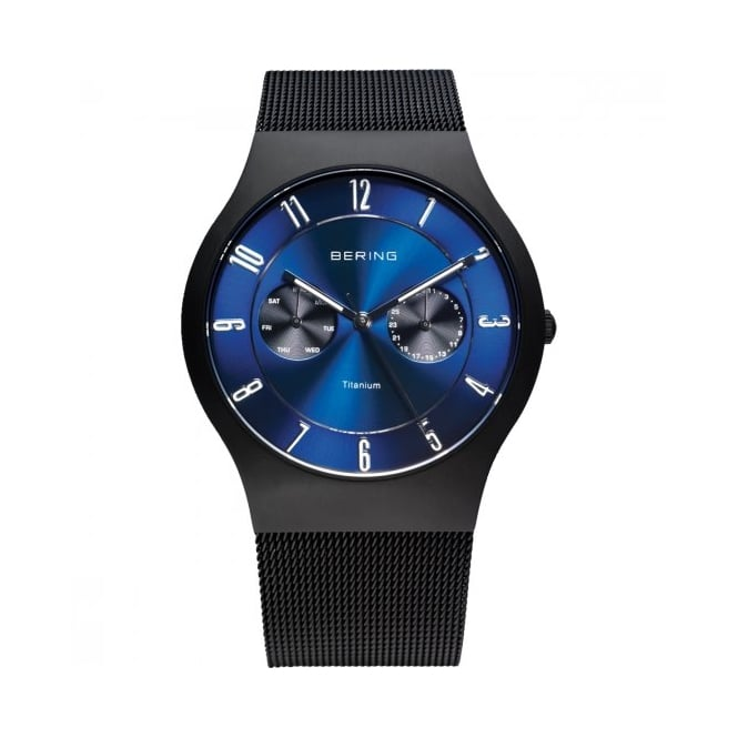 Bering Mens Round Blue Dial with a Black Milanese Strap