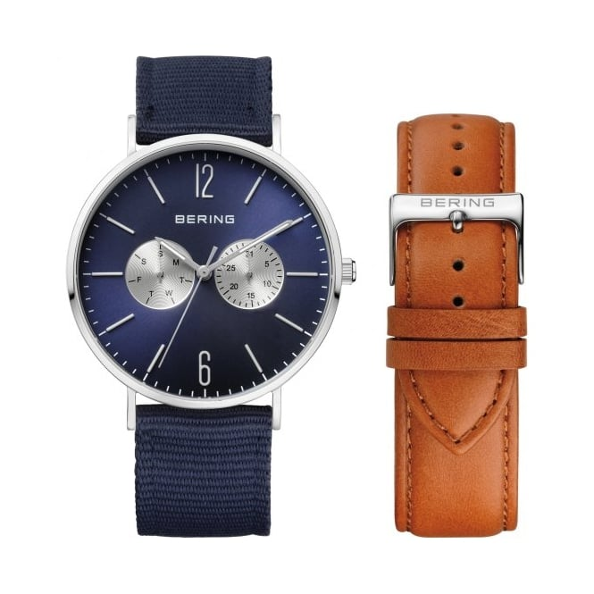 Bering Mens Round Blue Dial with a Blue Fabric Strap and a Tan Leather Strap